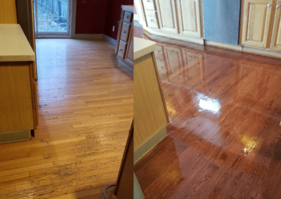 Wood Floor Refinishing, Before and After - Kitchen